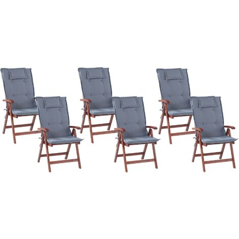 Set of 6 Garden Chairs with Blue Cushions TOSCANA