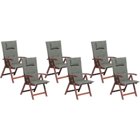 Set of 6 Garden Chairs with Grey Cushions TOSCANA