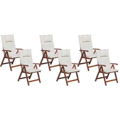 Set of 6 Garden Chairs with Off-White Cushions TOSCANA