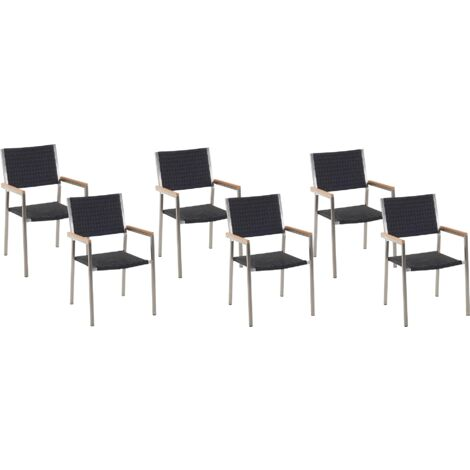 Set of 6 Modern Outdoor Dining Chairs Black Faux Rattan Stainless Steel Frame Grosseto