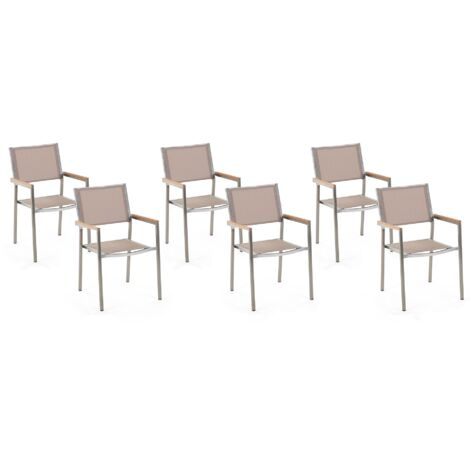 Set of 6 Modern Outdoor Garden Dining Chairs Beige Fabric Steel Frame Grosseto