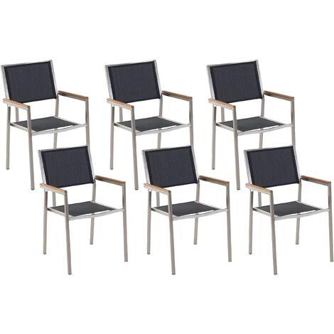 Set of 6 Modern Outdoor Garden Dining Chairs Black Fabric Steel Frame Grosseto