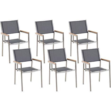 Set of 6 Modern Outdoor Garden Dining Chairs Grey Fabric Steel Frame Grosseto