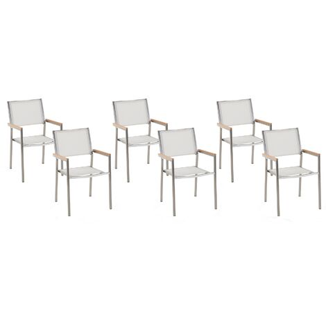 Set of 6 Modern Outdoor Garden Dining Chairs White Fabric Steel Frame Grosseto