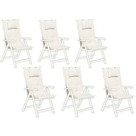 Set of 6 Outdoor Seat/Back Cushion Padded with Headrest Pad Cream Toscana