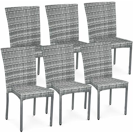 "main image of ""Set of 6 polyrattan chairs - Bergamo - Mixed grey"""