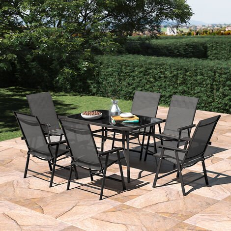 Set of 7 Garden 120CM Rectangle Glass Umbrella Table and Folding Chairs Set