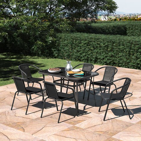 Set of 7 Garden 120CM Rectangle Glass Umbrella Table and Stackable Chairs Set