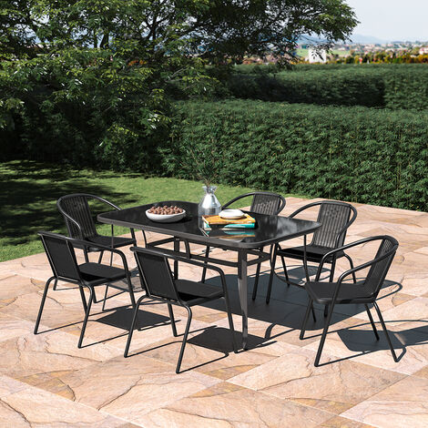 Set of 7 Garden 150CM Rectangle Glass Umbrella Table and Stackable Chairs Set