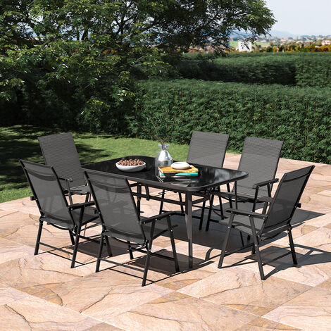 """main image of """"Set of 7 Garden Patio Glass Umbrella Table and Folding Chairs Set"""""""