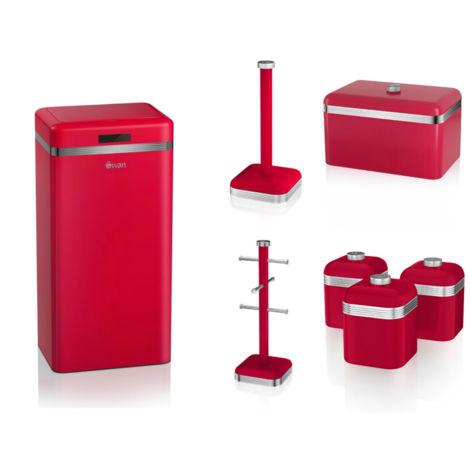 Set of 7 Swan RED Kitchen Retro Set - BreadBin, RED 45L Sensor Bin