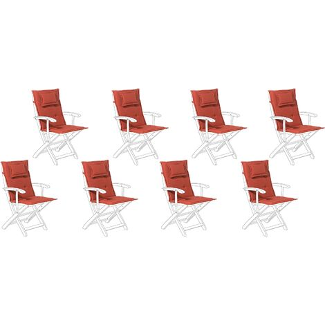 Set of 8 Outdoor Seat/Back Cushions Red MAUI