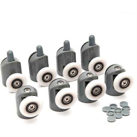 Set of 8 Shower Door Runners/Wheels/Pulleys for Curved Doors Ø23mm