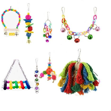 Set of 8 toys for color birds, climbing toy, chewing toys set for parrot