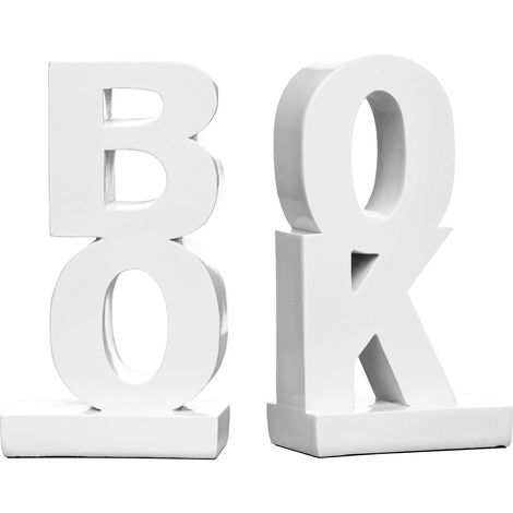 """Set of """"Book"""" Bookends,White High Gloss Finish Polyresin"""