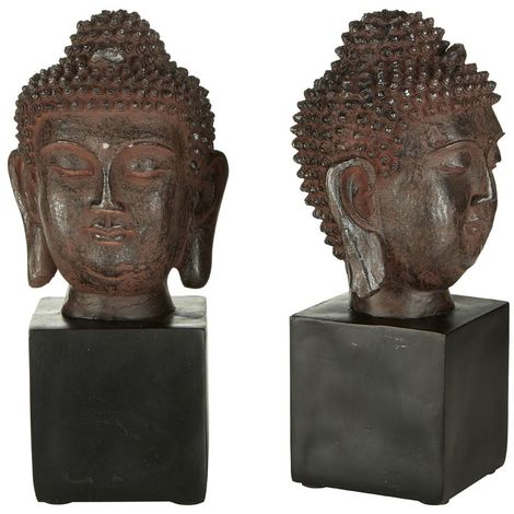 Set of buddha head bookends,polyresin,black
