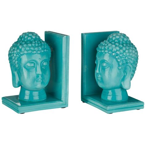 Set of buddha head bookends,turquoise,polyresin