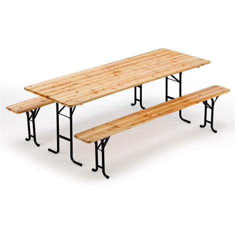 Set Of Dining Outdoors Wooden Two Legged Benches And Table 220x80