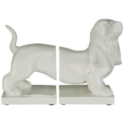 Set of Dog Bookends,White High Gloss Finish Polyresin