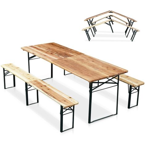 Set of Garden Folding Wooden Benches and Table for Outdoors