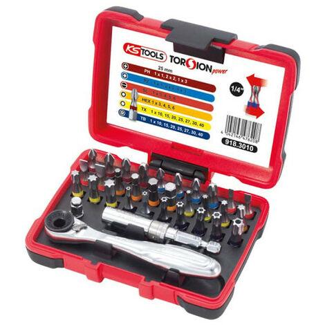Set of KS TOOLS Torsion Power bits - Color-coded screwing - 33 pcs - 918.3010
