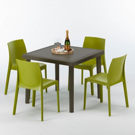 BROWN PASSION Set Made of a 90x90cm Brown Square Table and 4 Colourful Chairs | Rome Green Anise
