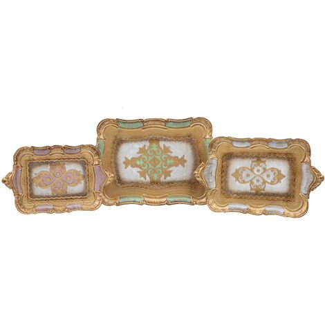 SET OF THREE FLORENTINE WOODEN TRAYS PLATE FRUIT BOWL CENTERPIECE