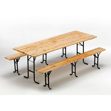 Set of Three Legged Wooden Table 2 Benches For Outdoor Dinners Events Festivals 220x80