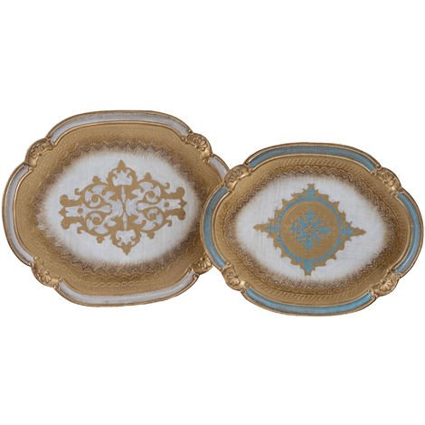 SET OF TWO FLORENTINE WOODEN TRAYS PLATE FRUIT BOWL CENTERPIECE