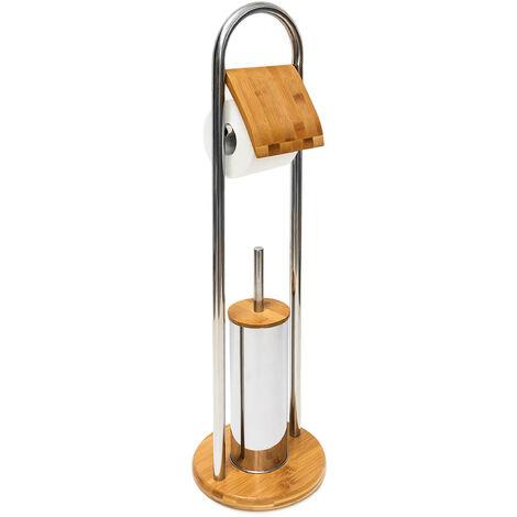 - Set para baño de bambú y acero inoxidable, con portarrollo y escobillero con escobilla de plástico y un higiénico recipiente