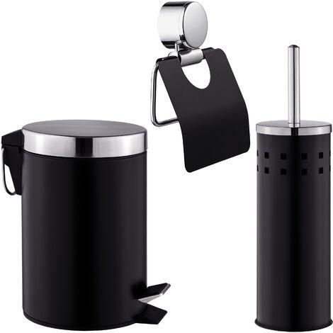 Set para el WC de 3 piezas - conjunto de accesorios de baño, set de escobillero con portarrollos y papelera, accesorios para sanitario de metal - negro