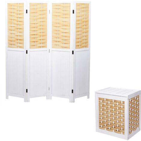 Set Paravent + Wäschekorb HHG-818, Raumteiler Wäschesammler, Massiv-Holz Shabby-Look Geflecht