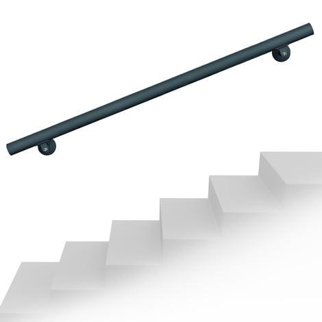 Set pasamanos barandilla montaje pared 100cm Antracita Acero Sujección Escalera Seguridad Decoración