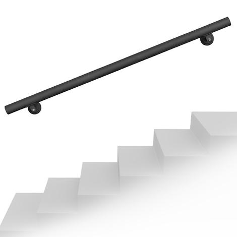 Set pasamanos barandilla montaje pared 140cm Negro Acero Sujección Escalera Seguridad Decoración