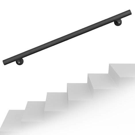 Set pasamanos barandilla montaje pared 150cm Negro Acero Sujección Escalera Seguridad Decoración