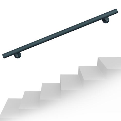 Set pasamanos barandilla montaje pared 180cm Antracita Acero Sujección Escalera Seguridad Decoración