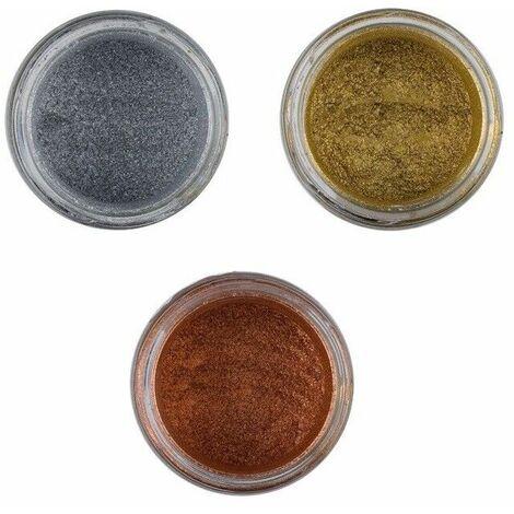 Set pigmenti metallici 3 colori per resina epossidica oro, argento, bronzo/rame