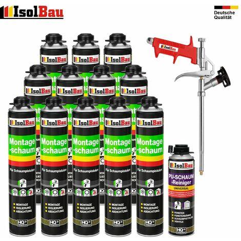 SET Pistolenschaum 12 x 750 ml +1 Metall Schaumpistole +1 Reiniger Montageschaum