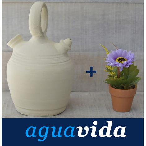 Set Planta y Botijo Dispensador de agua H2O 1,5 litros Aprox. Artesanal Hecho en España 100%. Hogar y Mas