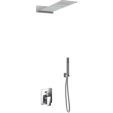 Set pour douche triple fonction modéle slim avec douchette à main, cascade cervical et pommeau douche rectangulaire – 55x23 cm pommeau douche