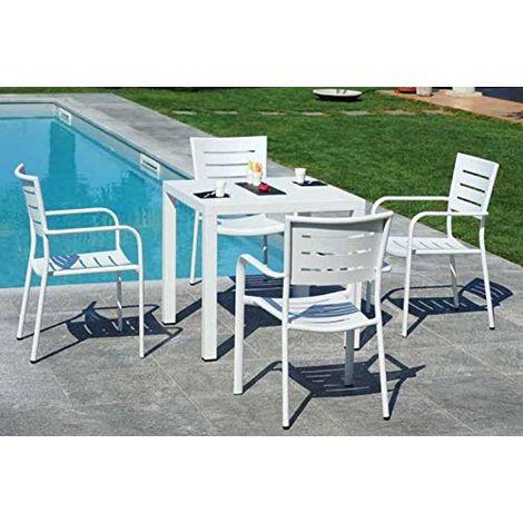Tavoli E Sedie Per Bar Esterno.Set Pranzo Per Esterni In Alluminio Con Tavolo E Quattro Sedie Per