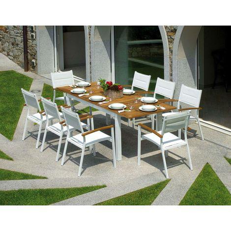 Set pranzo per giardini e ristoranti otto posto in alluminio