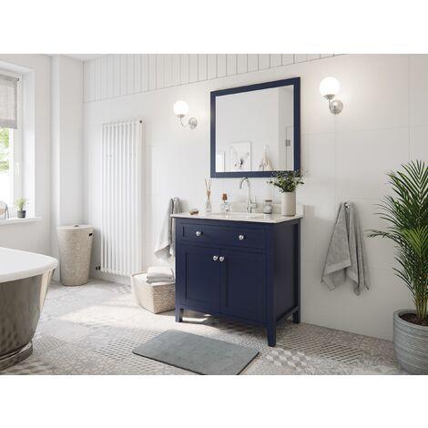 Set premontado Postigo 90 2P. estilo rústico azul madera barnizada mármol lav.