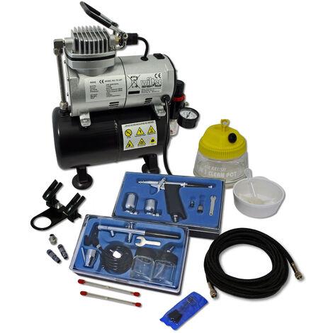 Set profesional de aerografía con compresor AS186 y 2 aerógrafos Accesorios lacar Artes plásticas