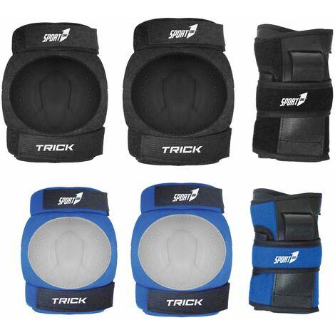 Set Protezioni Ginocchiere Gomitiere Polsiere per Bicicletta Pattini Skateboard - Colore: Blu