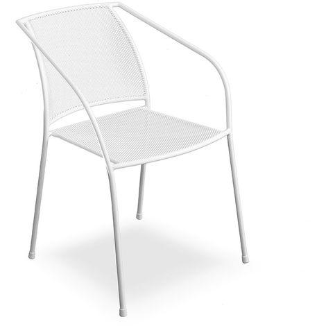Set quattro sedie per bar e giardino con lavorazione traforata color bianco