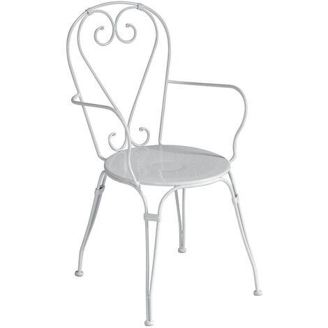Sedie Con Braccioli Design.Set Quattro Sedie Per Esterni Con Braccioli Design Shabby Chic