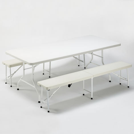 Set rectangular table 200x90 and 2 benches for SANFORD garden camping parties