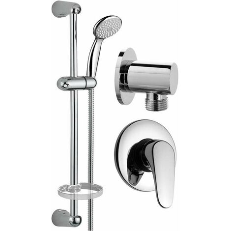 Set redondo completo para ducha Pollini KIT1 | Cromo