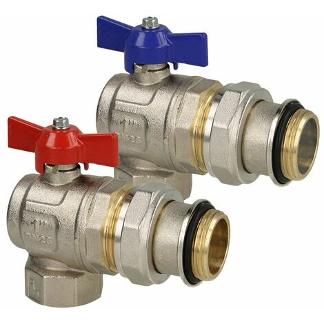 """Set robinets à bille 1"""" equerre rouge et bleu pour groupe raccordement chauffage"""